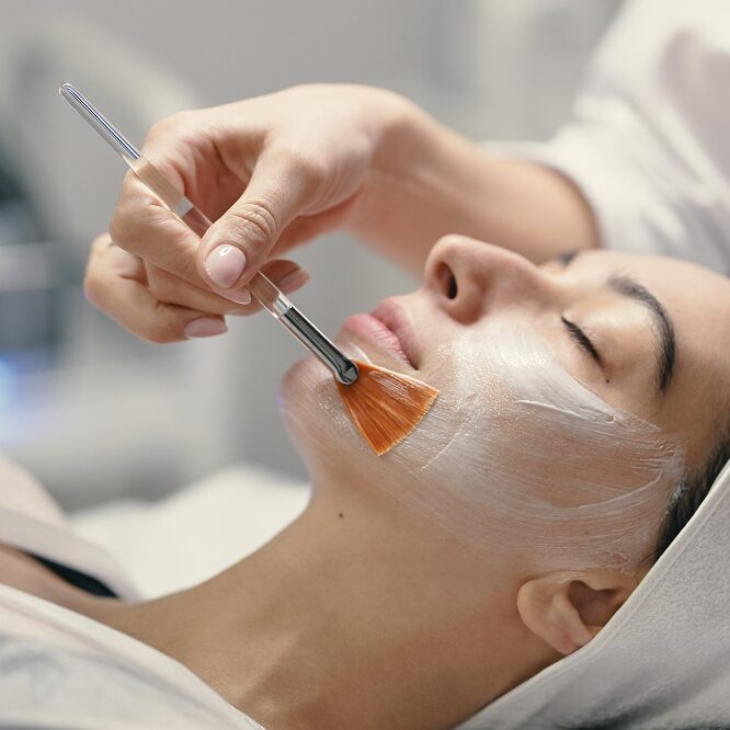 People, beauty, spa, cosmetology and skin care concept - Cosmetologist applying cream on a woman beautiful face with a cosmetologist brush.